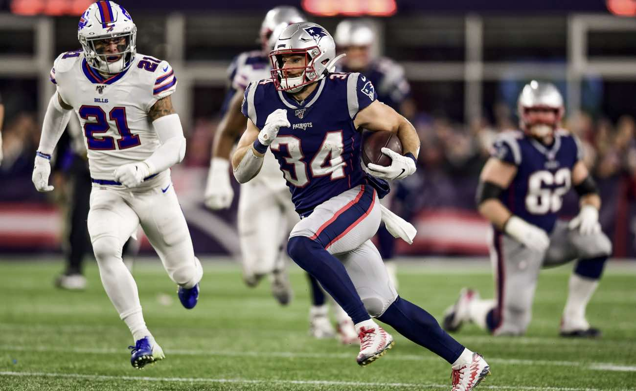 Rex Burkhead of New England Patriots carries the ball during the game against Buffalo Bills in December 2019