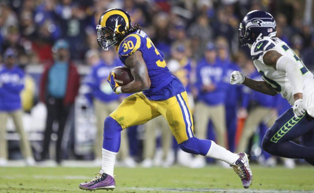 Todd Gurley of Los Angeles Rams against Seattle Seahawks at Los Angeles Memorial Coliseum December 2019
