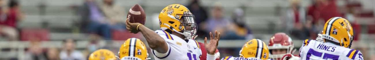 TJ Finley of the LSU Tigers about to throw a pass.