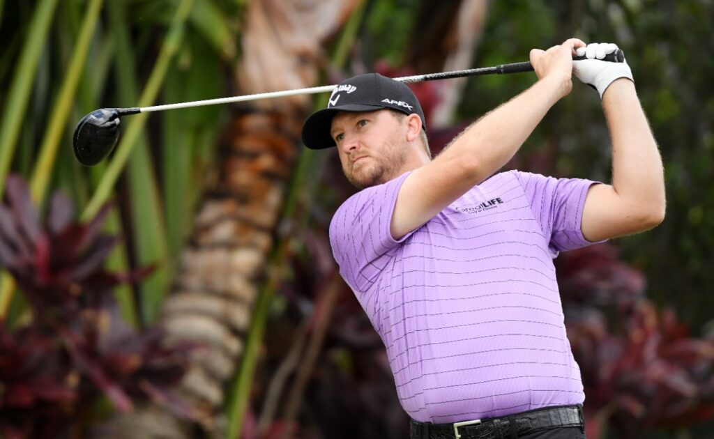 Brice Garnett of the United States plays his shot from the ninth tee during the second round of the Sony Open in Hawaii at the Waialae Country Club on January 10, 2020 in Honolulu, Hawaii.