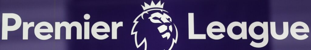 The Premier League Sign and Logo on a Blue Background - Photo By ISABEL INFANTES