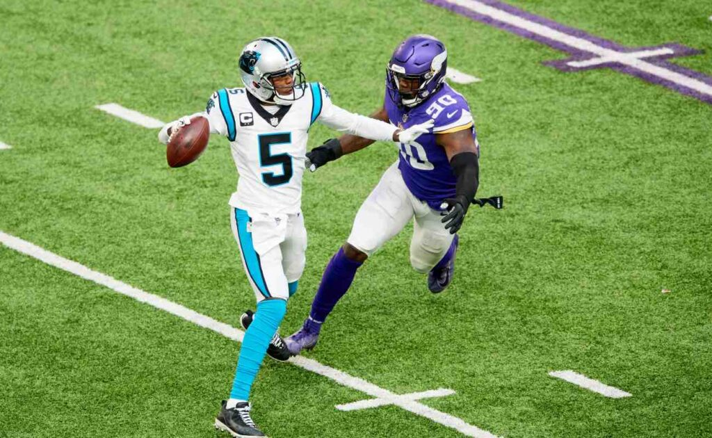 arolina Panthers quarterback Teddy Bridgewater attempts a pass before he is tackled. Photo by Hannah Foslien/Getty Images