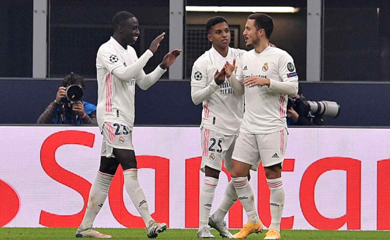 Mendy, Rodrygo, and Hazard of Real Madrid Celebrate After Scoring a Goal Against Inter Milan - Photo by MATTIA OZBOT