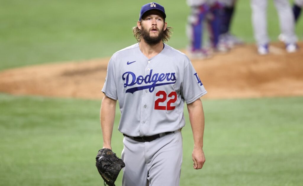 Clayton Kershaw of the Los Angeles Dodgers walks off the field. Photo by Tom Pennington/Getty Images