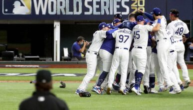 The Los Angeles Dodgers celebrate winning the 2020 MLB World Series. Photo by Sean M. Haffey/Getty Images