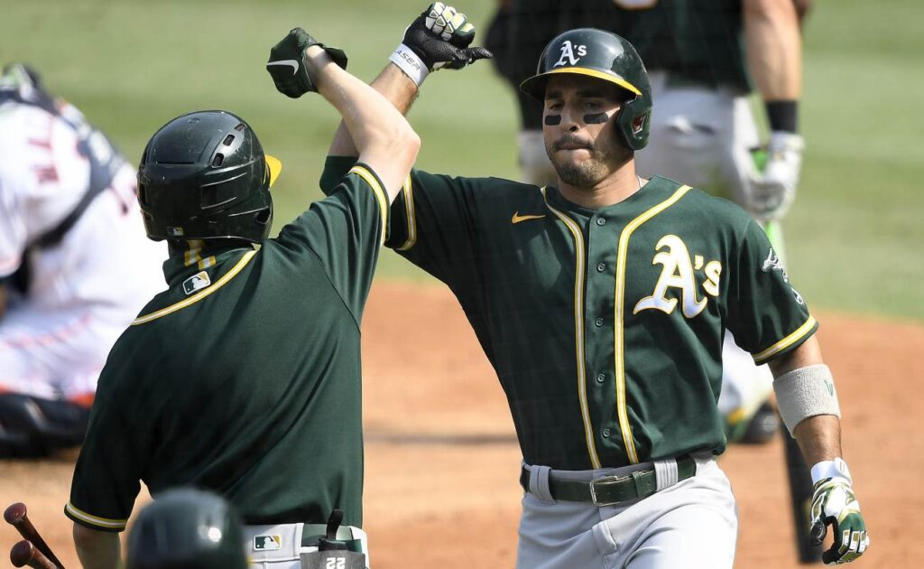 Oakland Athletics' Ramon Laureano celebrates a solo home run. Photo by Kevork Djansezian/Getty Images