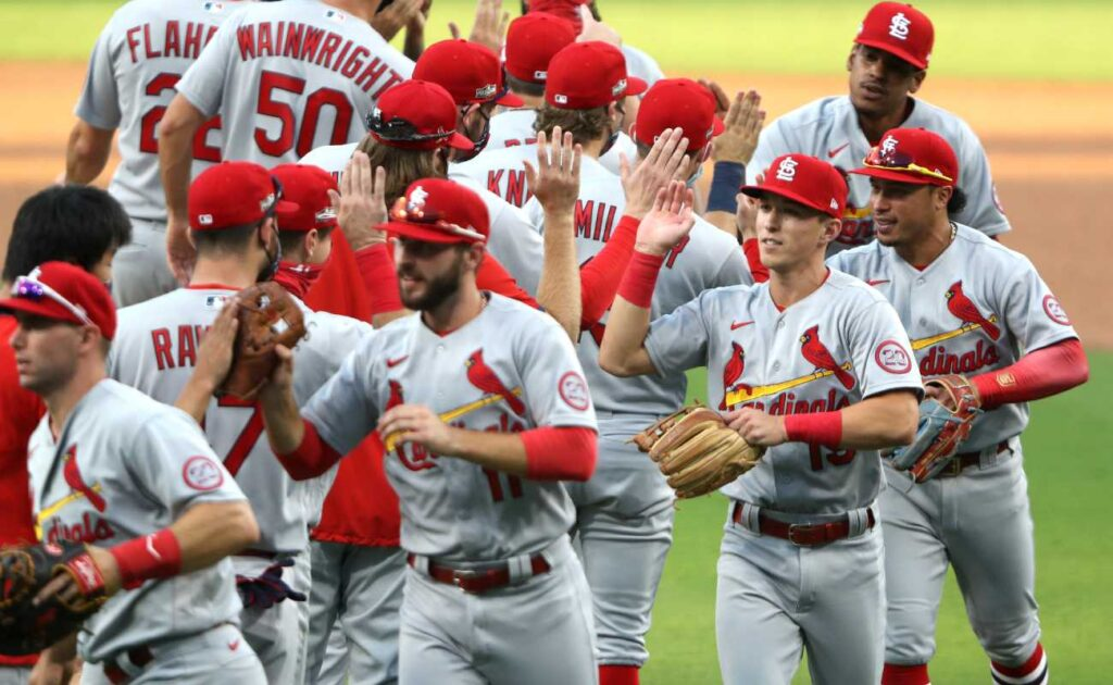The St. Louis Cardinals celebrating after a win. Photo by Sean M. Haffey/Getty Images
