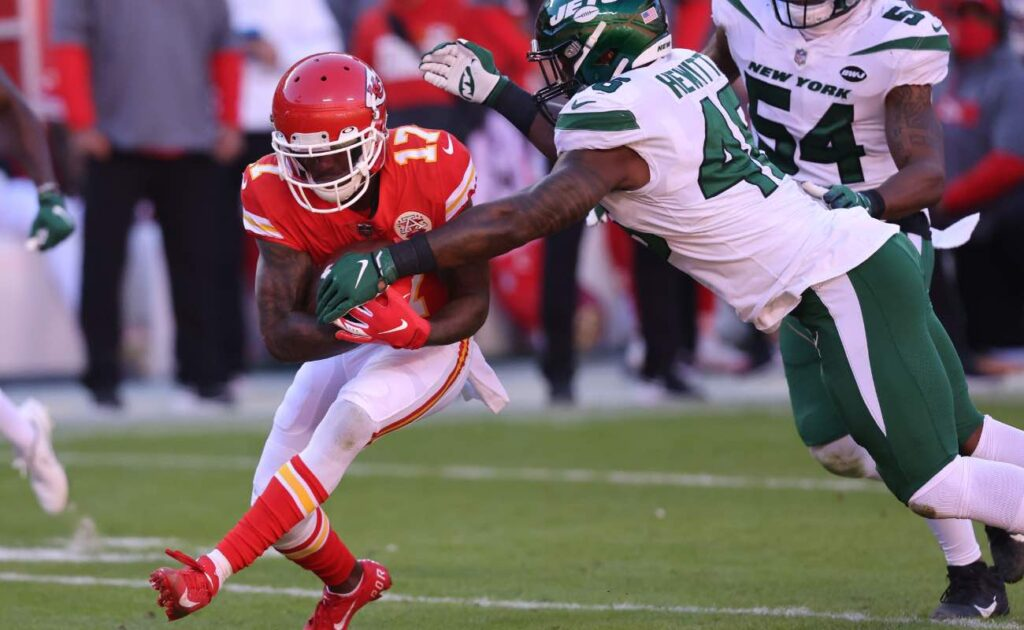 Mecole Hardman of Kansas City Chiefs against the New York Jets at Arrowhead Stadium, November 2020. Photo by Jamie Squire/Getty Images.