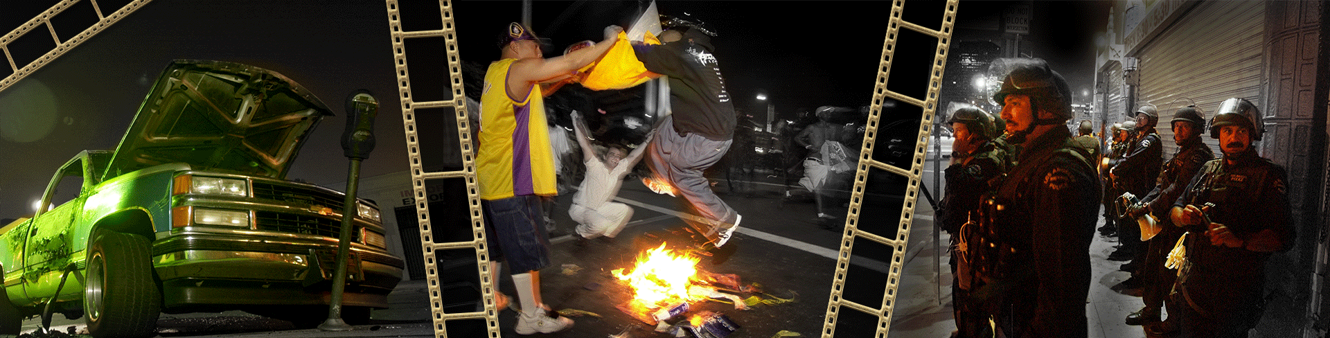 Collage of three images of the riots between the LA Lakers fans and police with decorative gold film roll clipart