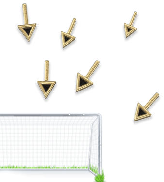 Illustration of a soccer goal with black and gold arrows pointing at it