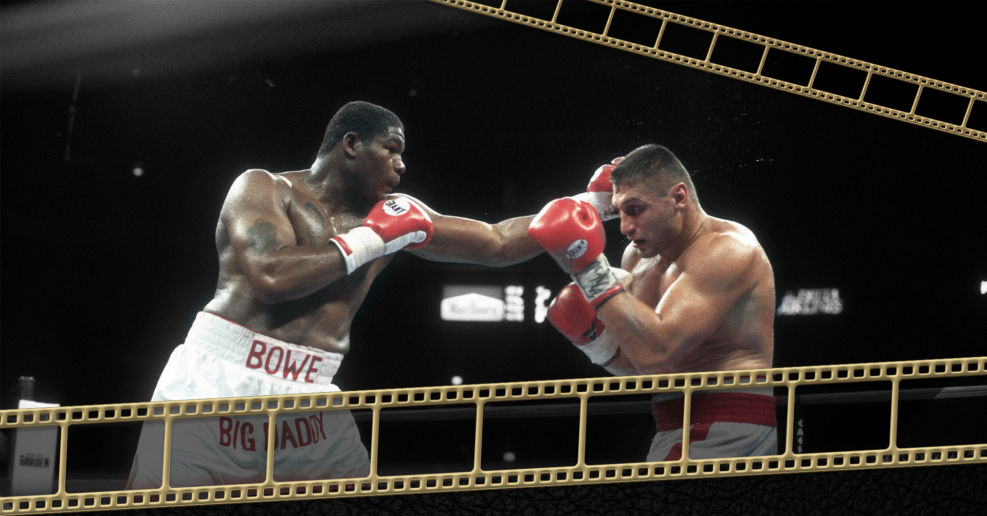 Boxing match between Riddick Bowe and Andrew Golota with decorative gold film roll on the bottom and top right corner of the picture