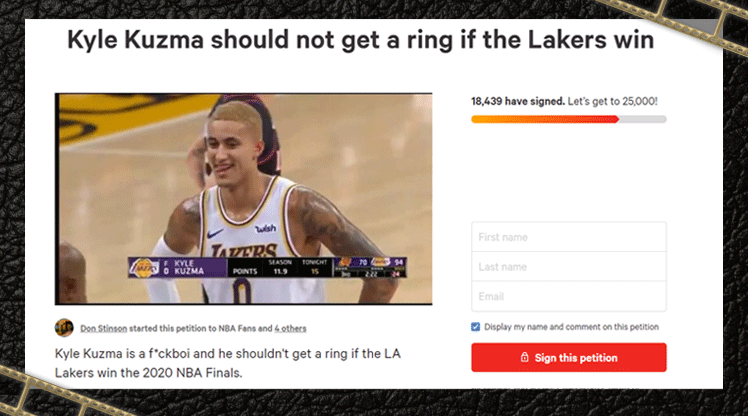 Screenshot of the petition started against Kyle Kuzma of the LA Lakers