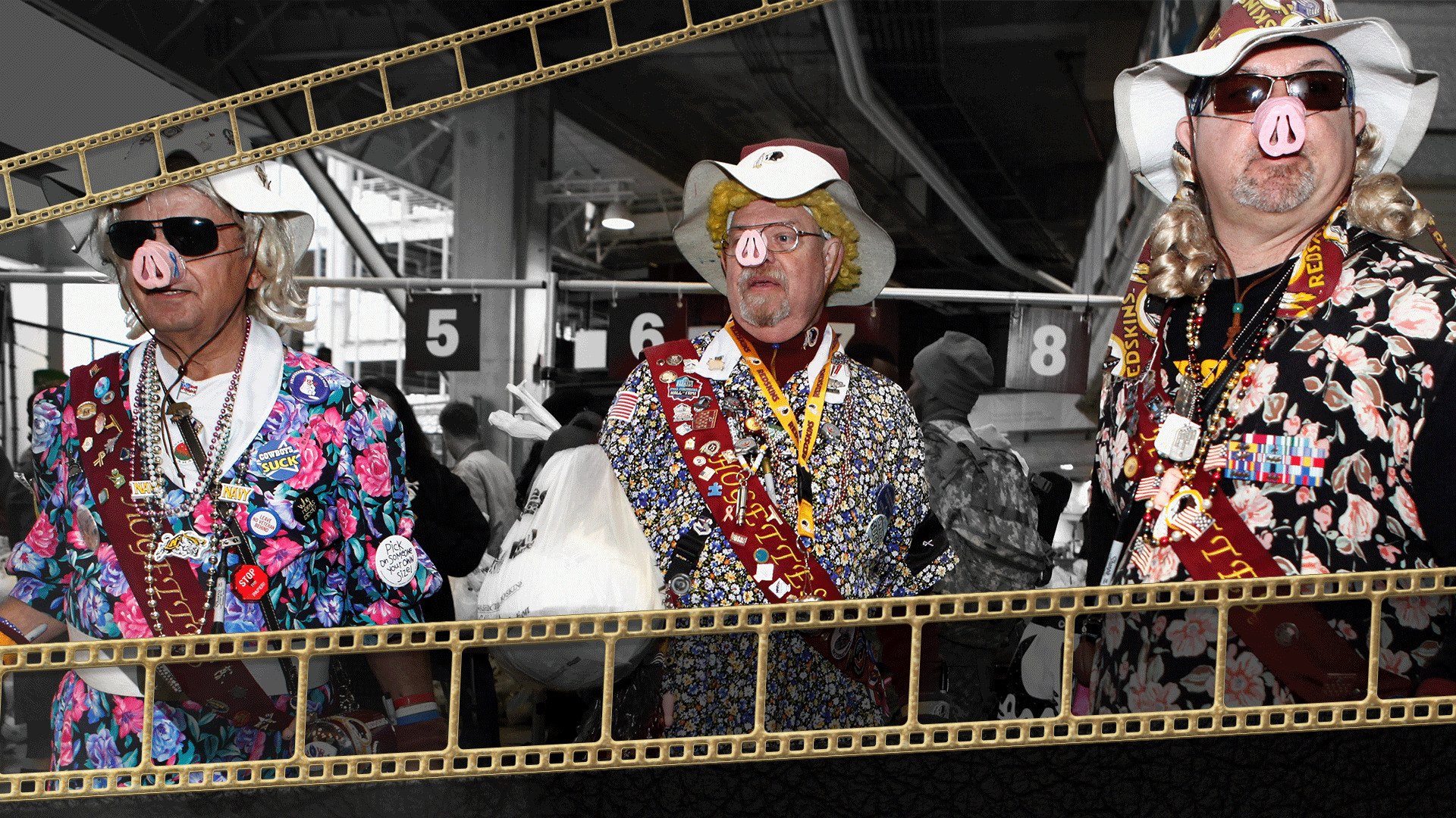 Three members of the Hogettes, fans of the Washington Football Team, with gold film camera roll clipart on the top left and the bottom