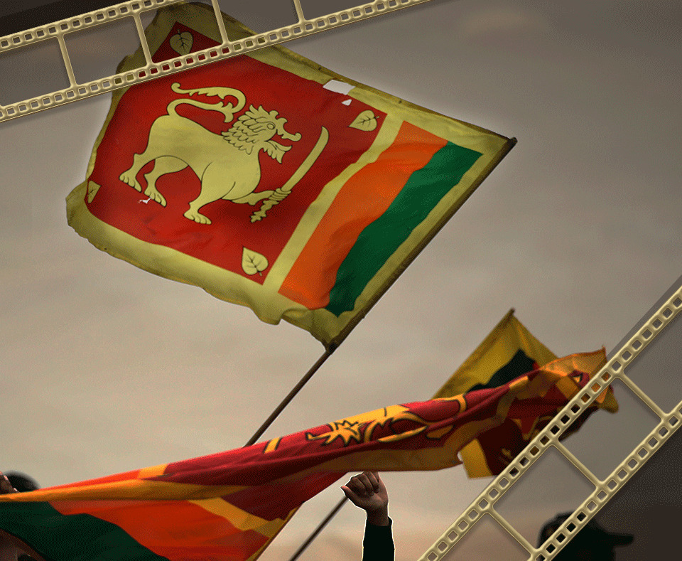 Two flags of Sri Lanka with gold camera film roll clipart on two corners