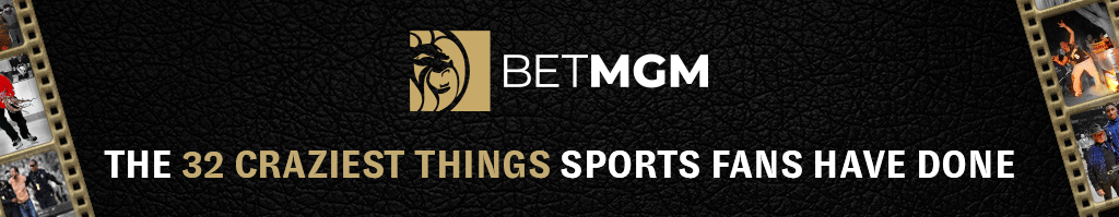 "BetMGM logo and header reading ""The 32 craziest things sports fans have done"" on a black background with decorative camera roll clipart on the sides"