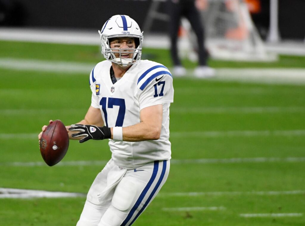 LAS VEGAS, NEVADA - DECEMBER 13: Quarterback Philip Rivers #17 of the Indianapolis Colts throws against the Las Vegas Raiders in the first half of their game at Allegiant Stadium on December 13, 2020 in Las Vegas, Nevada. The Colts defeated the Raiders 44-27. (Photo by Ethan Miller/Getty Images)