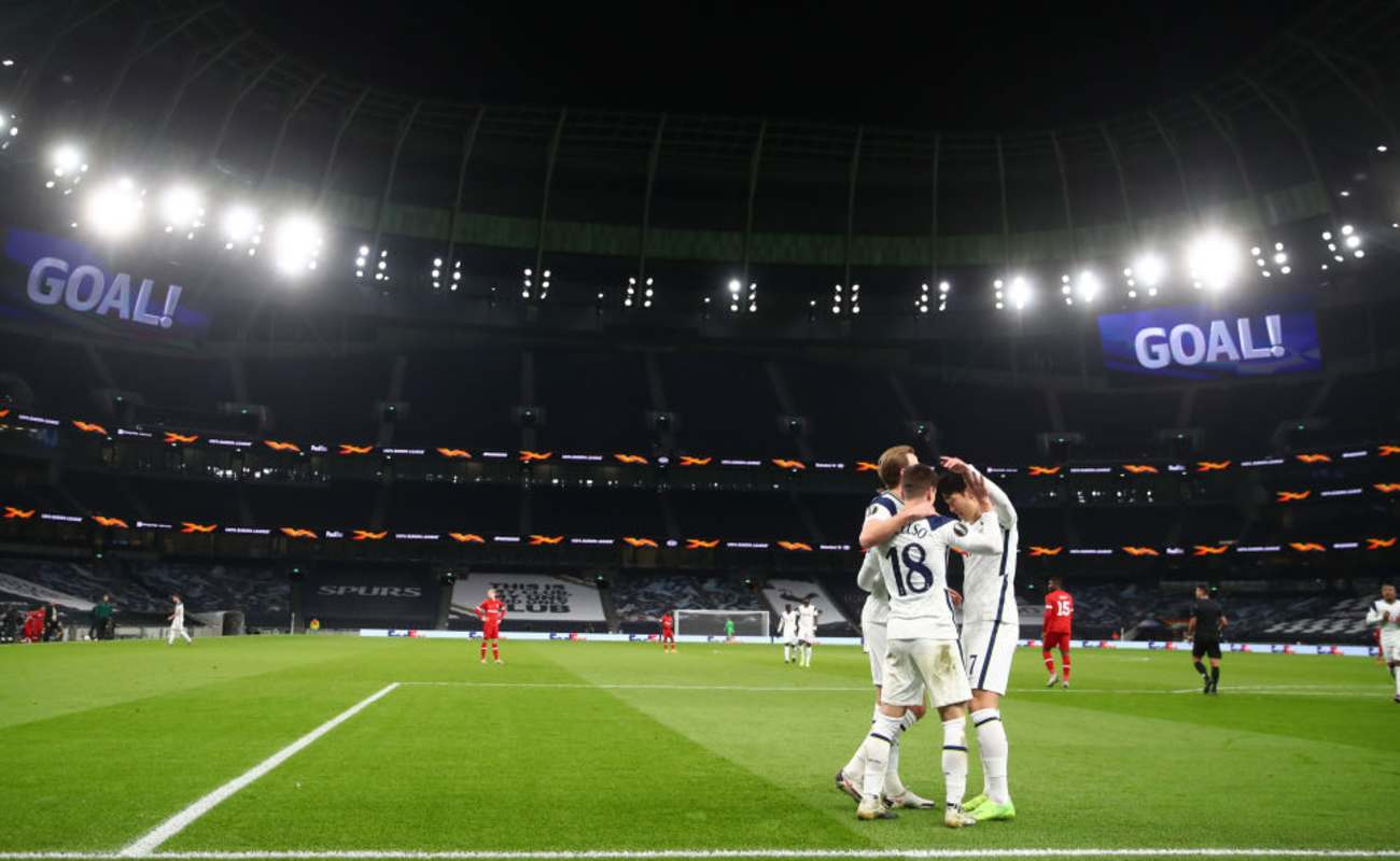 Tottenham Players Celebrate After Scoring a Goal - Photo by Julian Finney / Getty Images