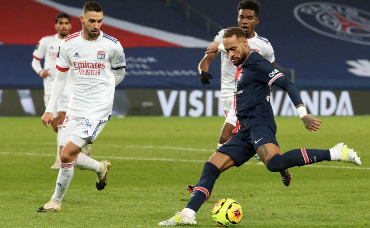 Neymar JR. of PSG Takes a Shot at Goal in a Game Against Lyon - Photo by Xavier Laine/Getty Images
