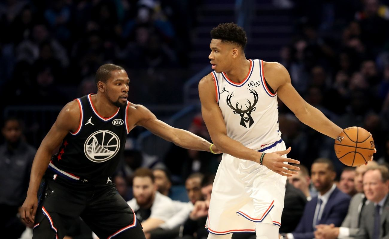 Kevin Durant #35 of the Golden State Warriors and Team LeBron defends Giannis Antetokounmpo #34 of the Milwaukee Bucks and Team Giannis during the NBA All-Star game as part of the 2019 NBA All-Star Weekend at Spectrum Center on February 17, 2019 in Charlotte, North Carolina. (Photo by Streeter Lecka/Getty Images)