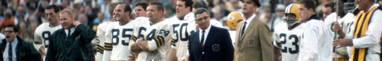 MIA MI, FL - January 14: Head Coach Vince Lombardi (dark Jacket) of the Green Bay Packers looks on from the sidelines against the Oakland Raiders during Super Bowl II January 14, 1968 at the Orange Bowl in Miami, Florida. The Packers won the game 33-14. (Photo by Focus on Sport/Getty Images)
