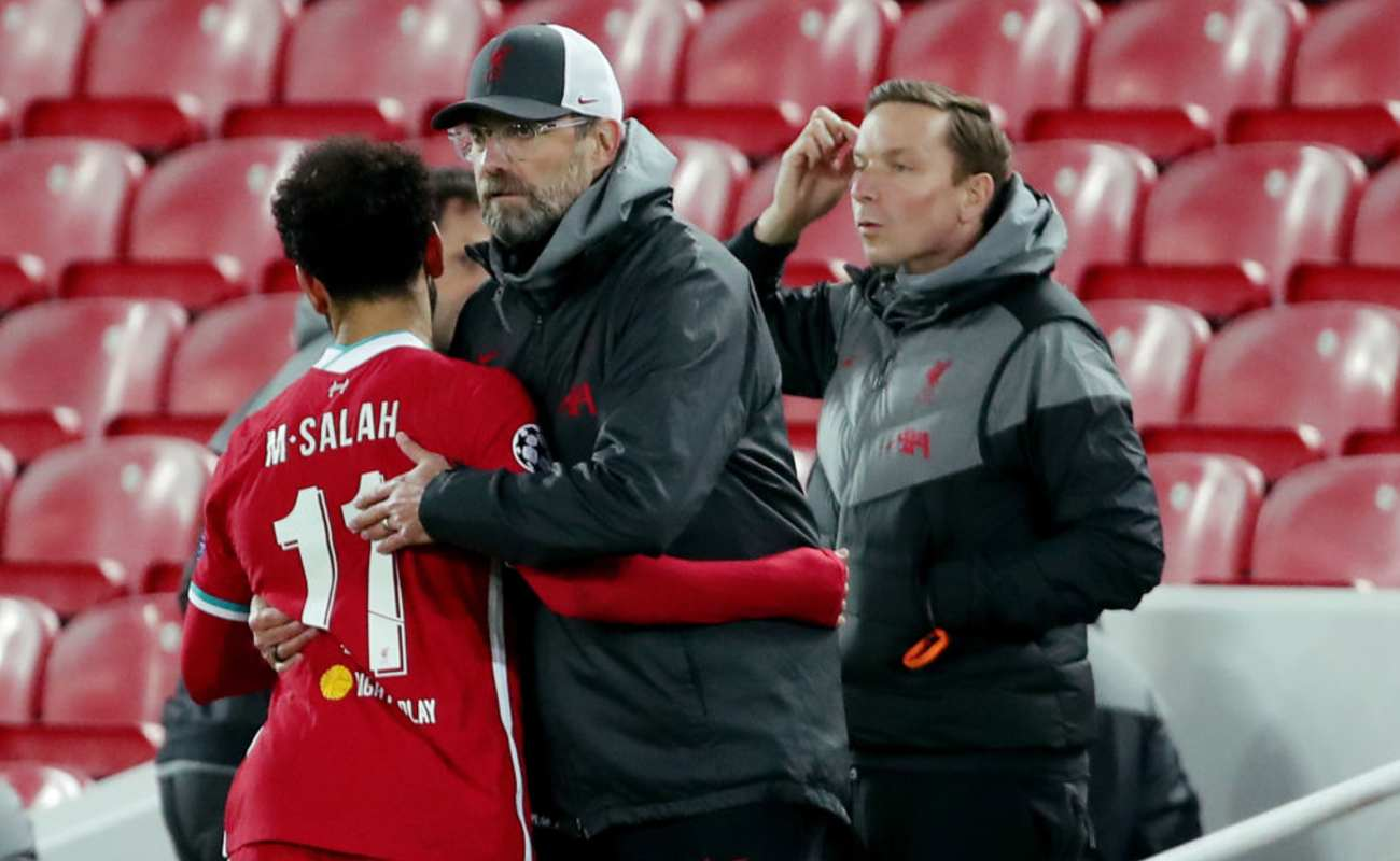 Mo Salah is Hugged By Manager Jürgen Klopp After Scoring a Goal - Photo by Richard Sellers/Getty Images