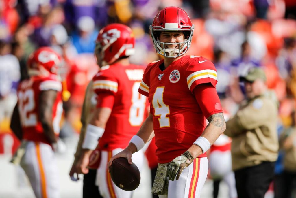 Chad Henne #4 of the Kansas City Chiefs smiles during pregame warmups prior to the game against the Minnesota Vikings at Arrowhead Stadium on November 3, 2019 in Kansas City, Missouri. (Photo by David Eulitt/Getty Images)
