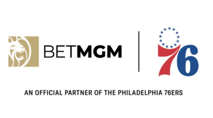 BetMGM logo next to the 76ers logo for the official partnership launch