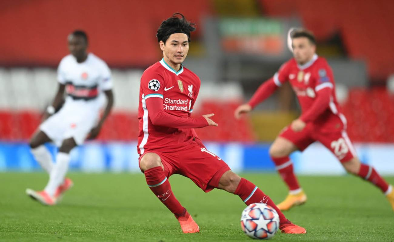 Takumi Minamino of Liverpool In Action with the Ball- Photo By Michael Regan