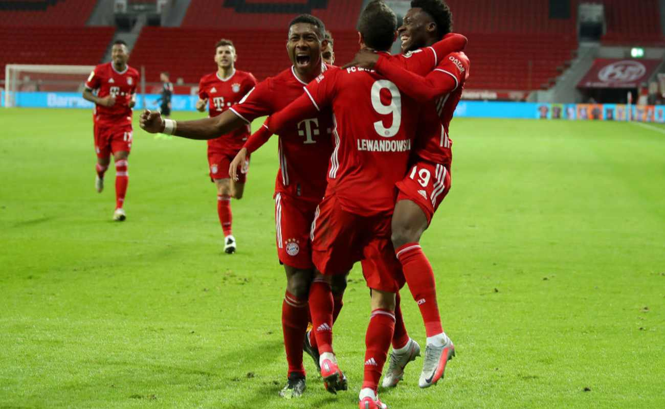 Bayern Munich Players Celebrate After Scoring a Goal - Photo by Lars Baron/Getty Images