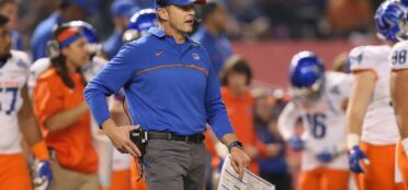 Head coach Bryan Harsin of the Boise State Broncos walks on the field during a time out from the Motel 6 Cactus Bowl against the Baylor Bears at Chase Field on December 27, 2016 in Phoenix, Arizona. (Photo by Christian Petersen/Getty Images