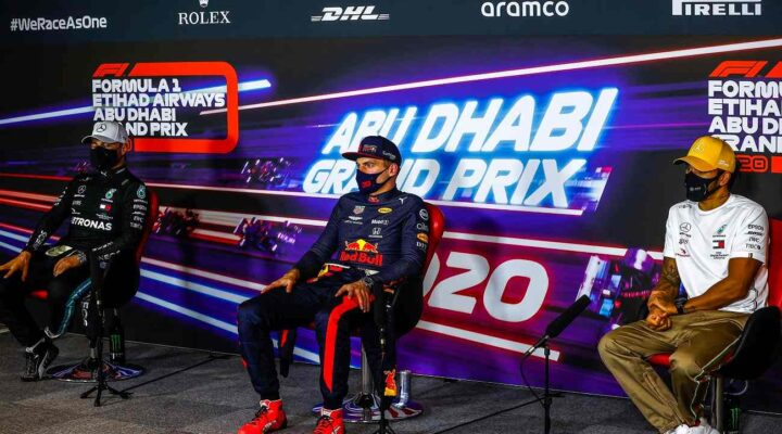 ABU DHABI, UNITED ARAB EMIRATES - DECEMBER 13: Race winner Max Verstappen of Netherlands and Red Bull Racing, second placed Valtteri Bottas of Finland and Mercedes GP and third placed Lewis Hamilton of Great Britain and Mercedes GP talk in a press conference following the F1 Grand Prix of Abu Dhabi at Yas Marina Circuit on December 13, 2020 in Abu Dhabi, United Arab Emirates. (Photo by Andy Hone - Pool/Getty Images)
