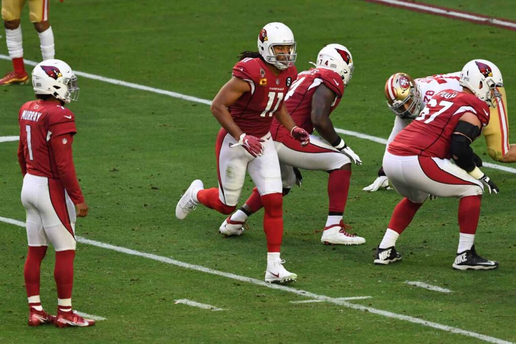 Larry Fitzgerald #11 of the Arizona Cardinals goes in motion prior to the snap against the San Francisco 49ers at State Farm Stadium on December 26, 2020 in Glendale, Arizona. (Photo by Norm Hall/Getty Images)
