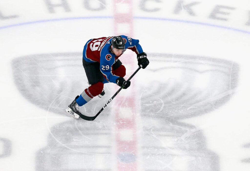 EDMONTON, ALBERTA - AUGUST 19: Nathan MacKinnon #29 of the Colorado Avalanche skates against the Arizona Coyotes in Game Five of the Western Conference First Round during the 2020 NHL Stanley Cup Playoffs at Rogers Place on August 19, 2020 in Edmonton, Alberta, Canada. (Photo by Jeff Vinnick/Getty Images)