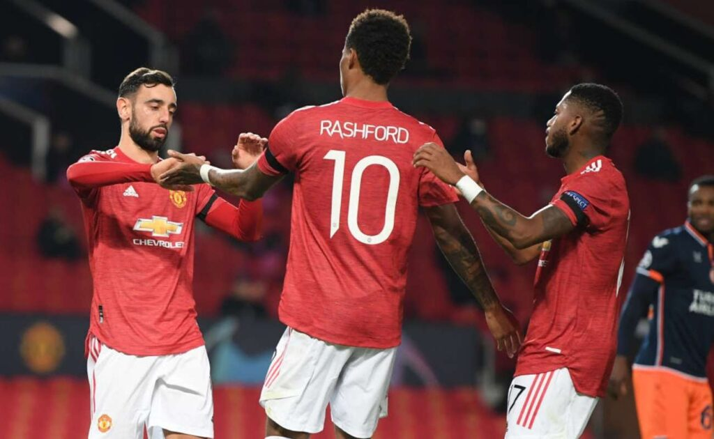 Bruno Fernandes, Marcus Rashford, and Fred of Manchester United Celebrate After a Goal - Photo By Michael Regan
