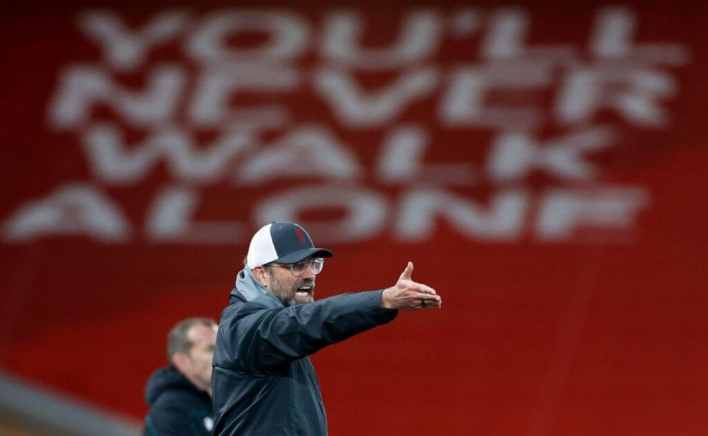 Liverpool Manager Jürgen Klopp Gestures at His Players During a Match - Photo By Phil Noble