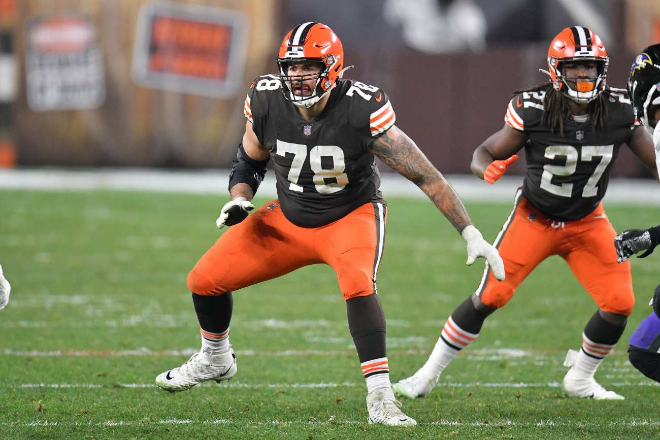 CLEVELAND, OHIO - DECEMBER 14: Offensive tackle Jack Conklin #78 of the Cleveland Browns blocks during the second half against the Baltimore Ravens at FirstEnergy Stadium on December 14, 2020 in Cleveland, Ohio. (Photo by Jason Miller/Getty Images