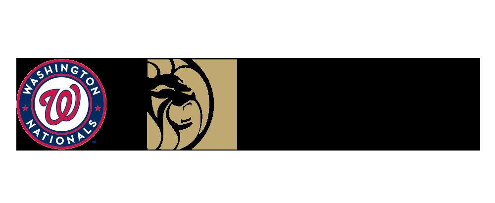 Washington Nationals logo next to the BetMGM logo on a white background