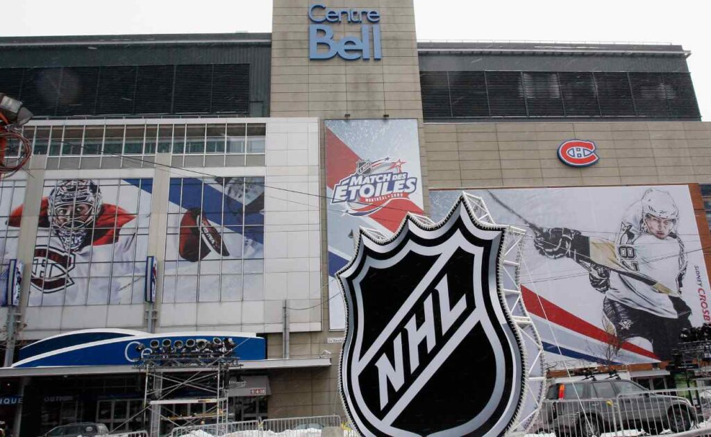 The outside of the Bell Centre, Montreal, Quebec, while preparations are being made for the 2009 NHL All-Star Game. Photo by Richard Wolowicz/Getty Images.