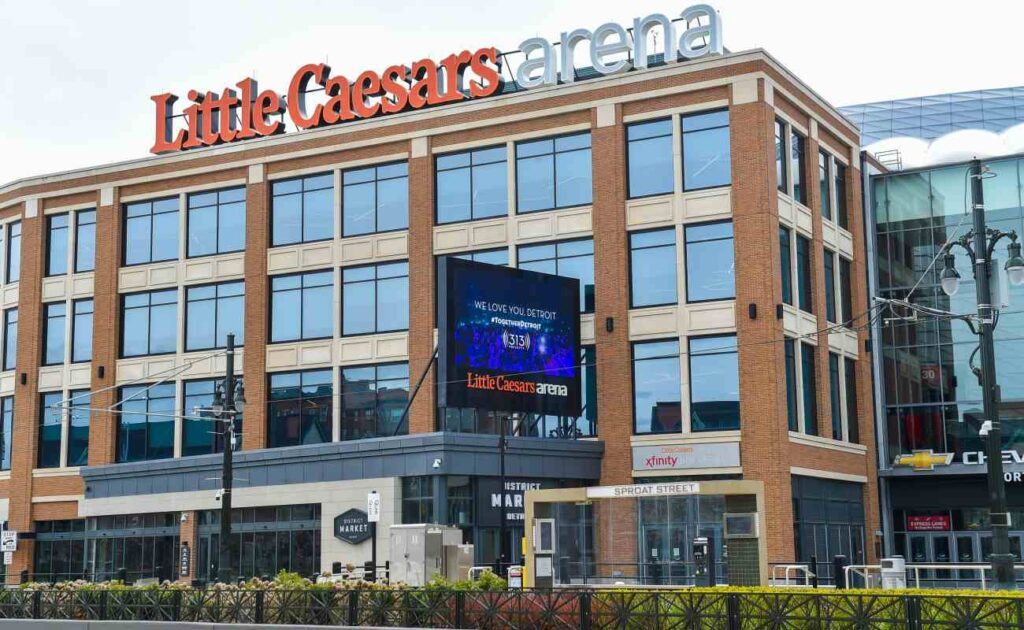 A view from the street outside the Little Caesars arena in Detroit, Michigan. Photo by Aaron J. Thornton/Getty Images.