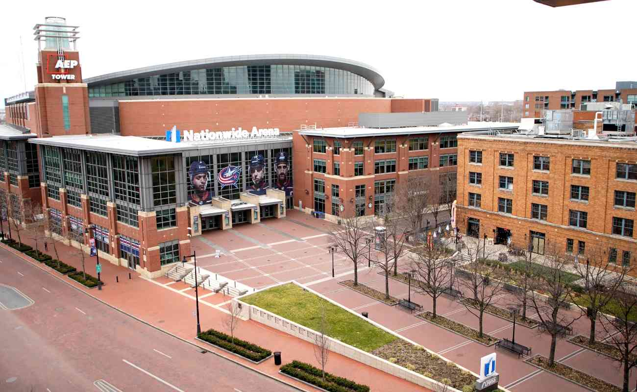 The plaza outside the entrance of the Nationwide Arena, Columbus, Ohio. Photo by Kirk Irwin/Getty Images.