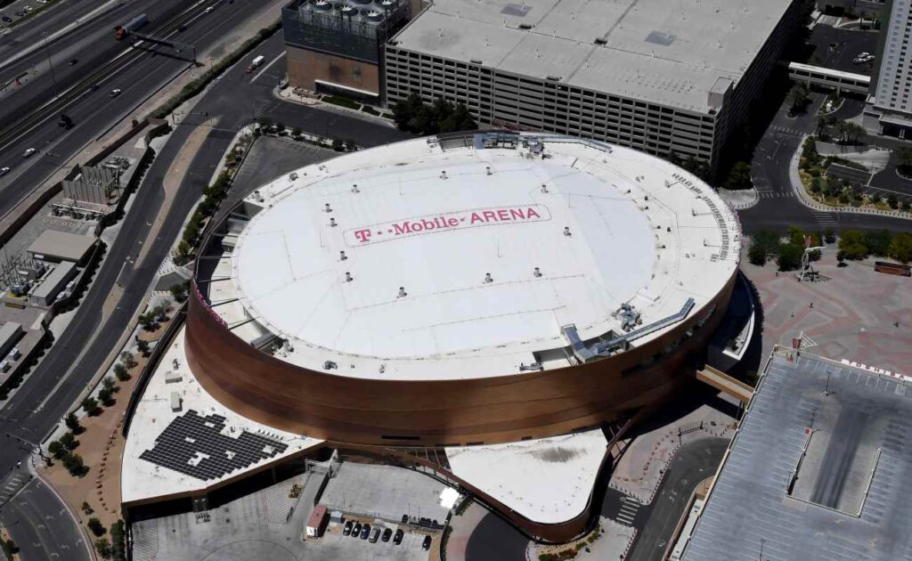 An aerial view of the T-Mobile Arena, Las Vegas. Photo by Ethan Miller/Getty Images.