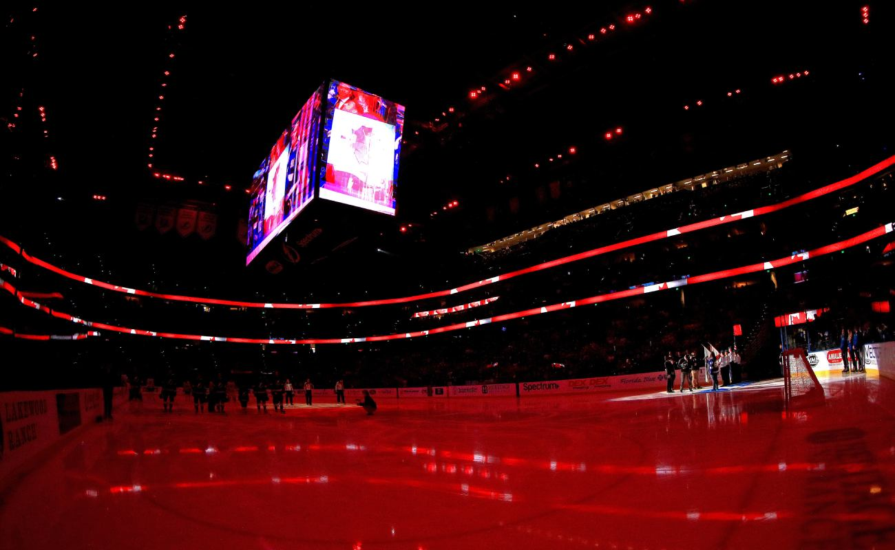 A general view of the Amalie Arena with lights dimmed. Photo by Mike Ehrmann/Getty Images.