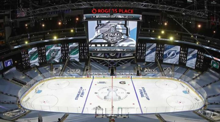 A general view of the Rogers Place arena in Edmonton, Alberta. Photo by Bruce Bennett/Getty Images.