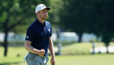 Daniel Berger of the United States reacts to his birdie on the 18th green during the final round of the Charles Schwab Challenge on June 14, 2020 at Colonial Country Club in Fort Worth, Texas. (Photo by Tom Pennington/Getty Images)