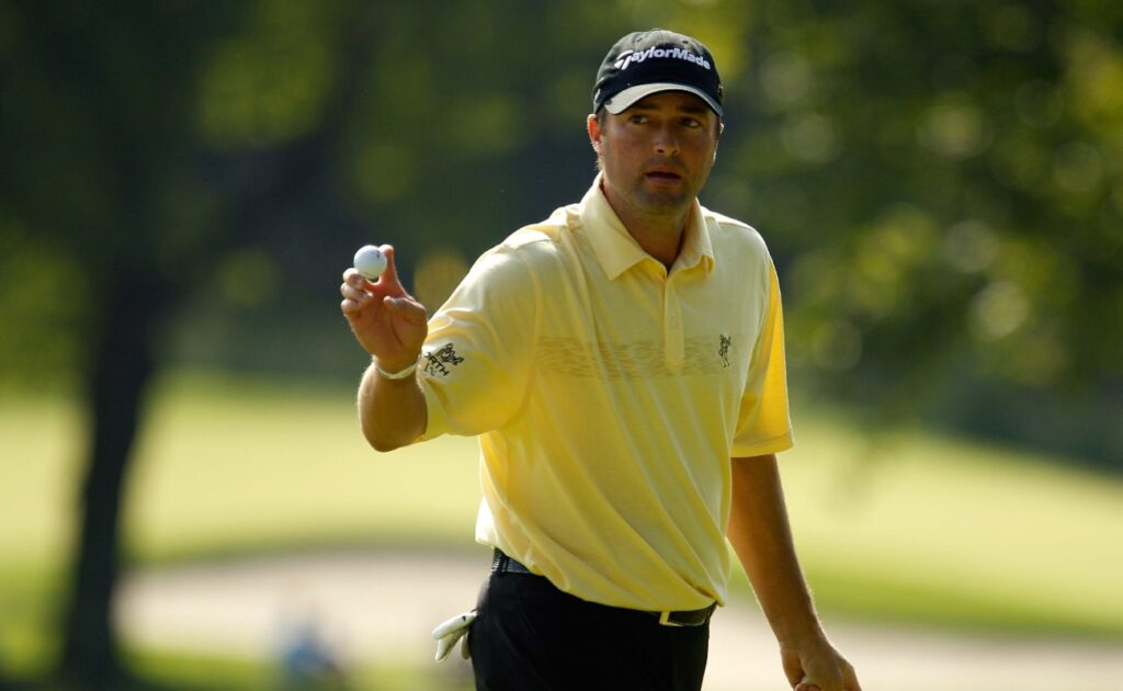 PARAMUS, NJ - AUGUST 26: Ryan Palmer reacts after he made a birdie putt on the fifth hole during the first round of The Barclays at the Ridgewood Country Club on August 26, 2010 in Paramus, New Jersey.