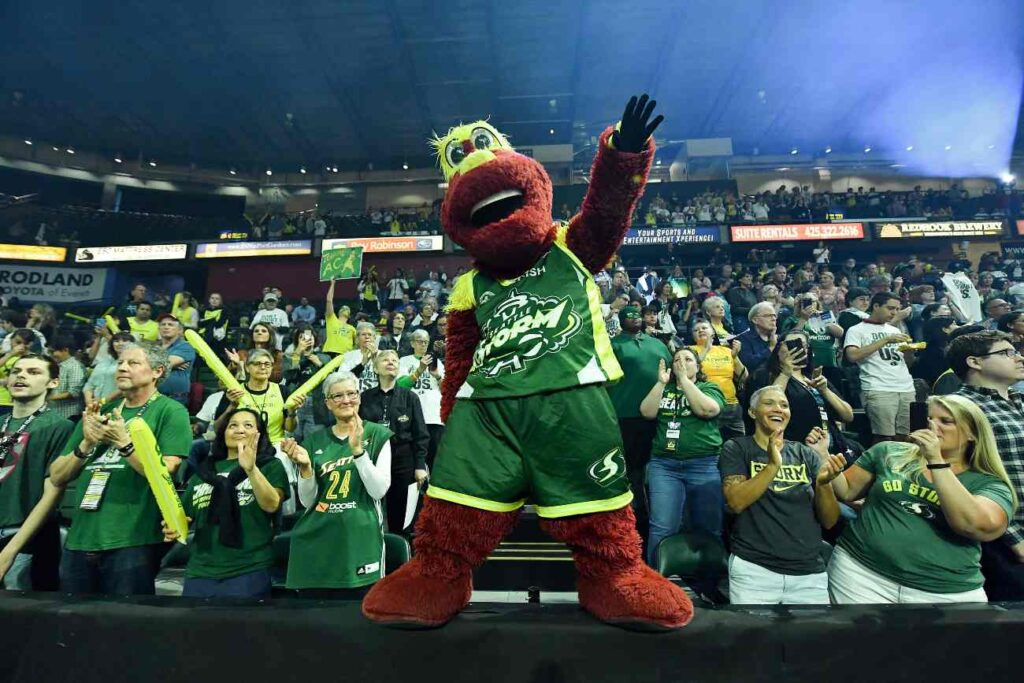 EVERETT, WASHINGTON - SEPTEMBER 11: Doppler the Seattle Storm mascot gets the crowd ready for the game against the Minnesota Lynx before the first game of the WNBA playoffs at the Angel of the Winds Arena on September 11, 2019 in Everett, Washington. (Photo by Alika Jenner/Getty Images)