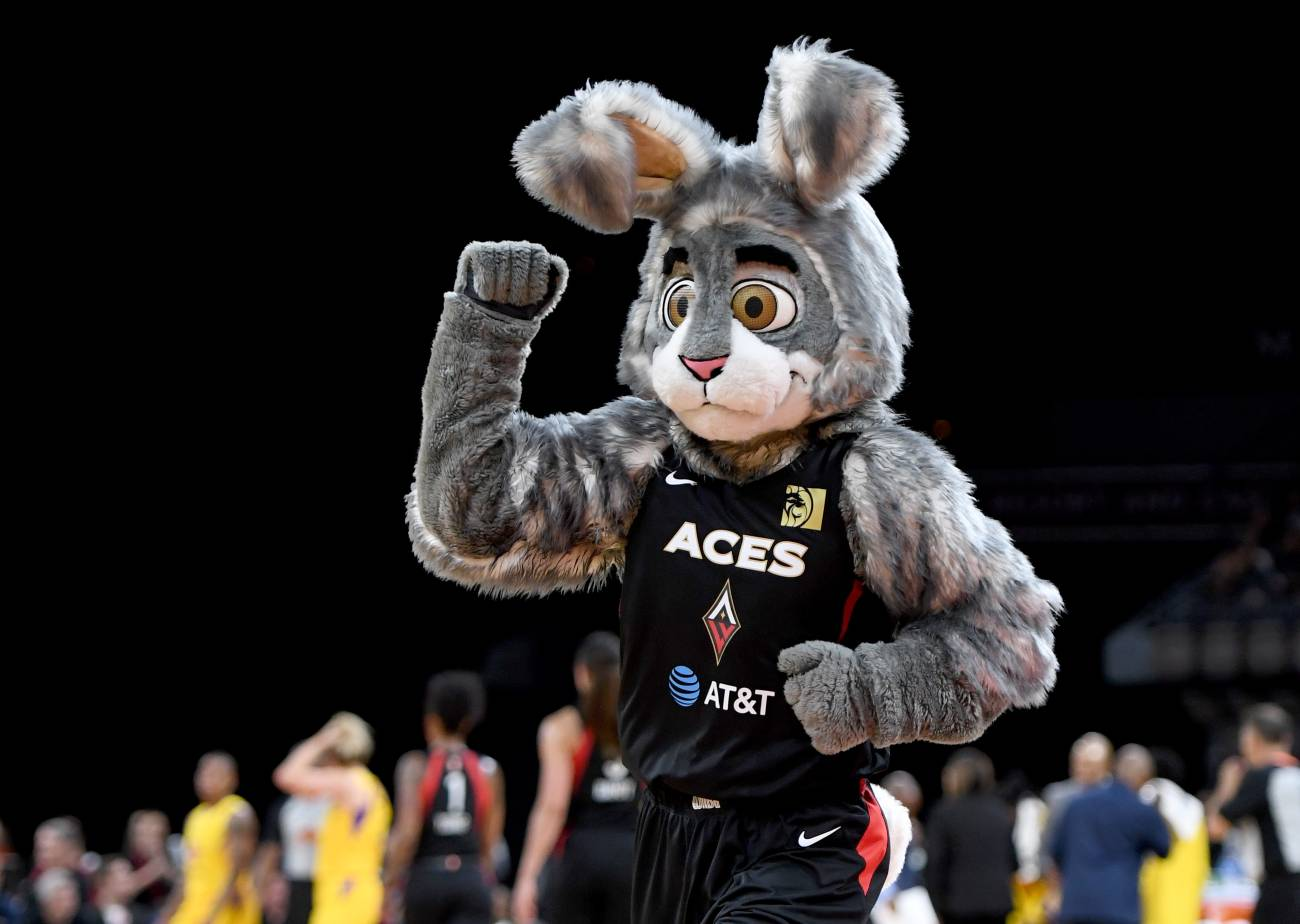 LAS VEGAS, NEVADA - MAY 26: Las Vegas Aces mascot BUCKET$ performs during the Aces' game against the Los Angeles Sparks at the Mandalay Bay Events Center on May 26, 2019 in Las Vegas, Nevada. The Aces defeated the Sparks 83-70. NOTE TO USER: User expressly acknowledges and agrees that, by downloading and or using this photograph, User is consenting to the terms and conditions of the Getty Images License Agreement. (Photo by Ethan Miller/Getty Images)