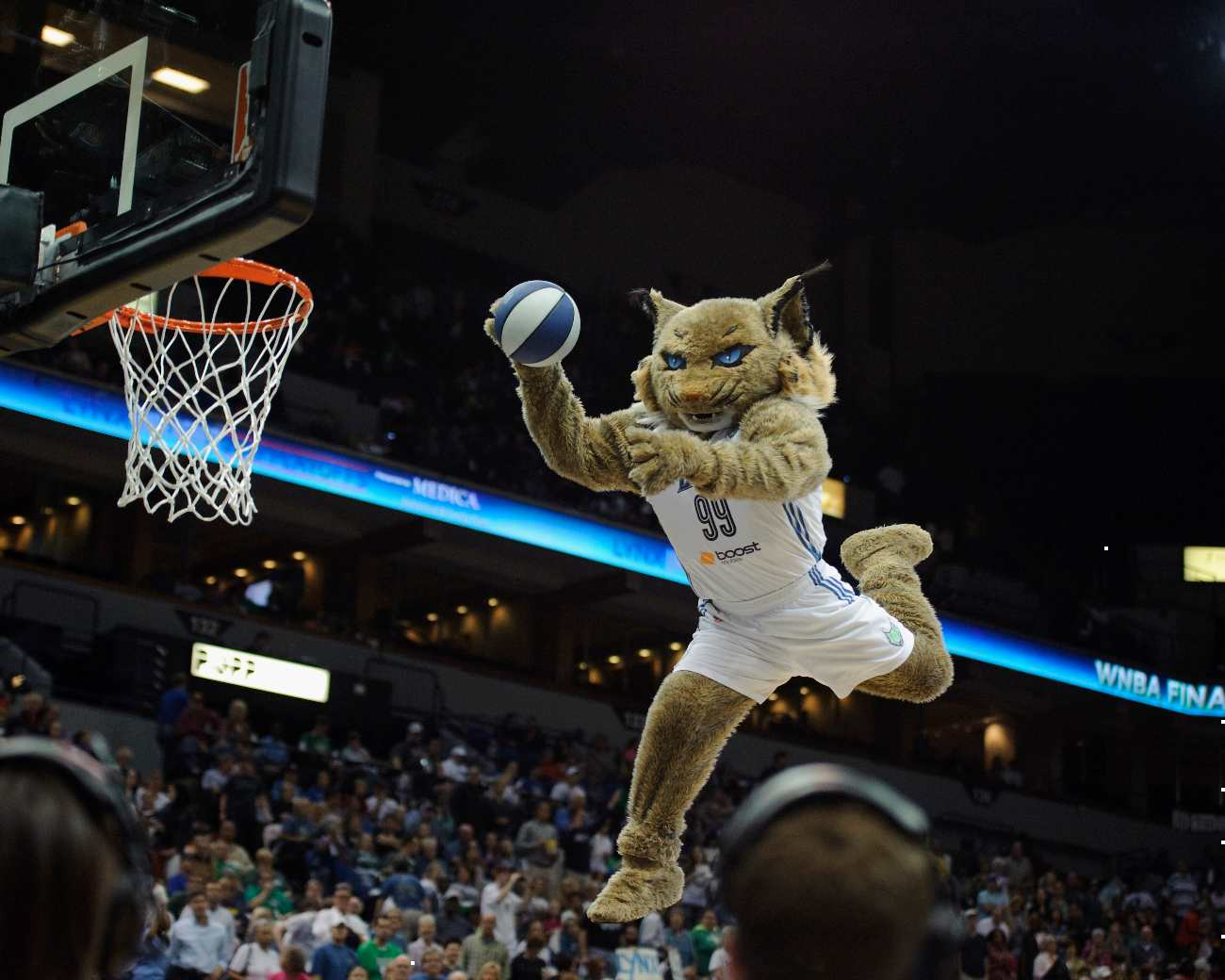 MINNEAPOLIS, MN - OCTOBER 8: Prowl, mascot for the Minnesota Lynx performs during Game Two of the 2013 WNBA Finals between the Minnesota Lynx and the Atlanta Dream on October 8, 2013 at Target Center in Minneapolis, Minnesota. NOTE TO USER: User expressly acknowledges and agrees that, by downloading and or using this Photograph, user is consenting to the terms and conditions of the Getty Images License Agreement. (Photo by Hannah Foslien/Getty Images)