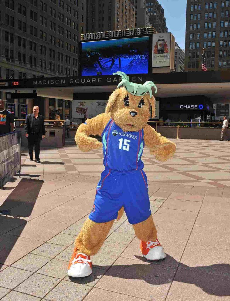 NEW YORK - JUNE 02: New York Liberty mascot Maddie poses for photos to promote the new partnership between NY Liberty and Foxwoods at Madison Square Garden on June 2, 2010 in New York City. (Photo by James Devaney/Getty Images)