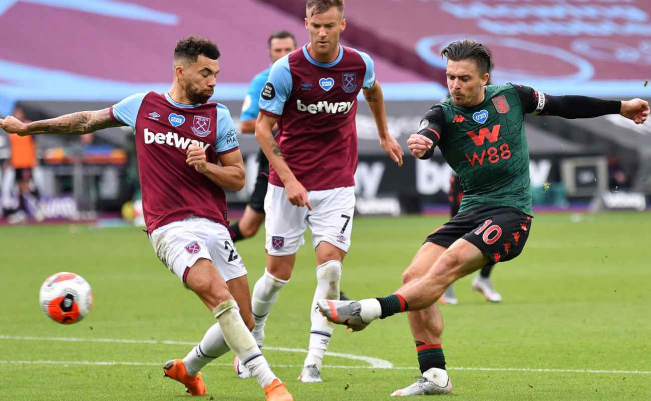 Jack Grealish of Aston Villa Takes a Shot in a Game Against West Ham - Photo Credit: Justin Setterfield/Getty Images